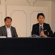 日整保険部介護対策課の川口(右)・三谷先生(左)による特別講演風景
