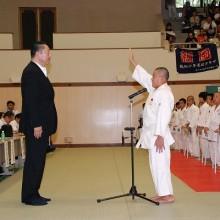 選手宣誓する大刀洗豪武館の近藤那生樹選手