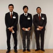 平成25年度生涯学習高単位取得者日整表彰者 塩川会員(左)永山会員(中)磯辺会員(右)